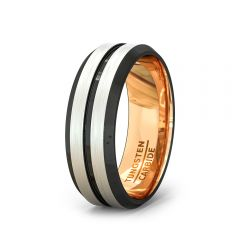 Tungsten Ring Rose Gold with Black Groove and Beveled Edge Comfort Fit