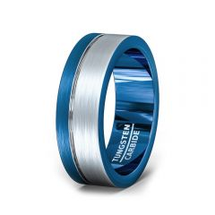 Tungsten Blue Side Groove Mens Ring Brushed Flat Edges 8mm Comfort Fit