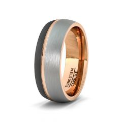Mens Wedding Band/Fashion Ring 8mm Black White Brushed Tungsten Ring Thin Side Rose Gold Groove Dome Edge Comfort Fit
