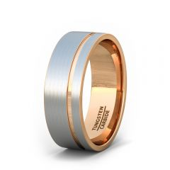 Mens Wedding Band/Fashion Ring 8mm Black White Brushed Tungsten Ring Thin Side Rose Gold Groove Flat Edge Comfort Fit