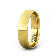6mm 18k Gold Plated High Polish Dome Tungsten Ring