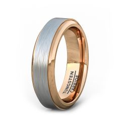 Two Tone 6mm Tungsten Ring Brushed Surface Rose Gold Step Edge Comfort Fit