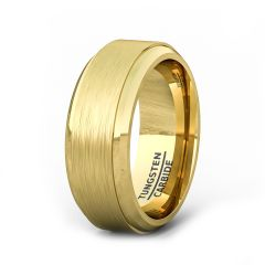 18k Plated Yellow Gold Tungsten Ring Brushed Step Edge Comfort Fit