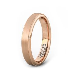 4mm Rose Gold Brushed Step Edge Tungsten Carbide Ring Mens Wedding Band/Fashion Ring Comfort Fit