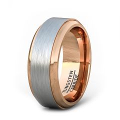 Two Tone 8mm Tungsten Ring Brushed Surface Rose Gold Step Edge Comfort Fit