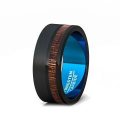 8mm Brushed Black Tungsten Ring with Wood Flat EdgeBlue Comfort Fit