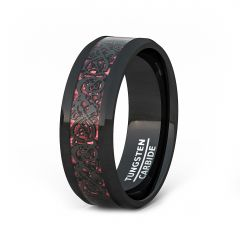 Mens Wedding Band/Fashion Ring 8mm Black Celtic Dragon Tungsten Ring Red Carbon Fiber Beveled Edge Comfort Fit