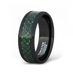Mens Wedding Band/Fashion Ring 8mm Black Celtic Dragon Tungsten Ring Green Carbon Fiber Beveled Edge Comfort Fit