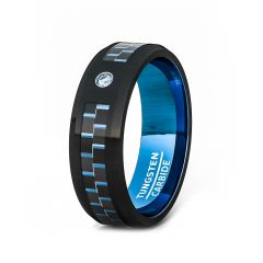 Mens Wedding Band/Fashion Ring 8mm Black Tungsten Ring Blue Carbon Fiber with Blue Stone Beveled Edge Comfort Fit