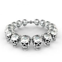 Stainless Steel Bracelet Biker Jewelry Gothic Skull Design