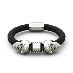 Stainless Steel Bracelet with Black Genuine Leather Steel Magnetic Clasp Wrist Band