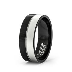 Black Tungsten Ring Satin Surface Beveled Edge Comfort Fit