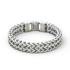 Stainless Steel 12MM Wheat Chain Design Bracelet for Men