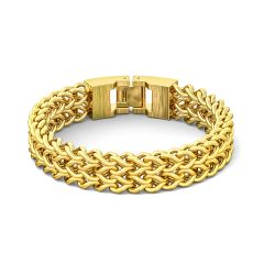 Stainless Steel Gold Color 12MM Wheat Chain Design Bracelet for Men