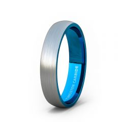 Mens Wedding Band/Fashion Ring Tungsten Ring 4mm Outside Brushed Dome Inside Blue Comfort Fit