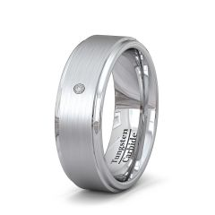 Mens Wedding Band Fashion Ring 8mm Tungsten Ring Beveled Edge Brushed Surface with 1 CZ