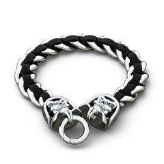 Stainless Steel Bracelet with Black Genuine Braided Leather Mens Skull Design Interweave