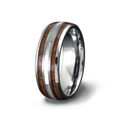 8mm Tungsten Ring Polished with Double Wood Inlay Dome Comfort Fit
