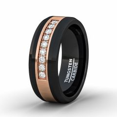 Rare Mens Wedding Band/Fashion Ring Black Tungsten Ring Rose Gold Inlay with Cubic Zircon Comfort Fit