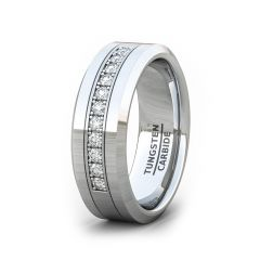 8mm Tungsten Carbide Ring Zircon Gift For Him Fashion Band Beveled Edge Comfort Fit