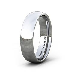 Mens Wedding Band/Fashion Ring 6mm Classic Polished Tungsten Ring Beveled Edge Comfort Fit