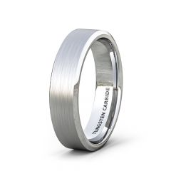 Mens Wedding Band/Fashion Ring 6mm Classic Brushed Tungsten Ring Beveled Edge Comfort Fit