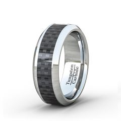 Mens Wedding Band/Fashion Ring 8mm BlackCarbon Fiber Polished Flat Surface Beveled Edge Comfort Fit