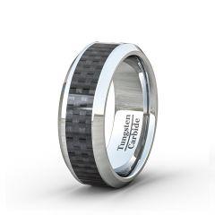 Mens Wedding Band/Fashion Ring 8mm BlackCarbon Fiber Polished Flat Surface Beveled Edge Comfort Fit