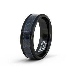 Mens Wedding Band/Fashion Ring 8mm 8mm Black Tungsten Ring Blue Celtic Dragon Beveled Edge Comfort Fit