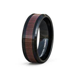 Mens Wedding Band/Fashion Ring Black Tungsten Ring Wood Pattern Inlay Beveled Edge Comfort Fit
