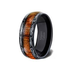 Mens Wedding Band/Fashion Ring 8mm 8mm Black Tungsten Ring Wood Inlay Pattern Dome Comfort Fit