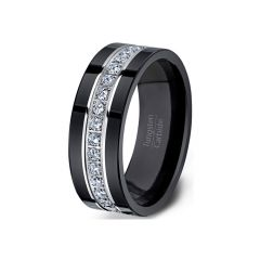 Mens Wedding Band/Fashion Ring 8mm Black Tungsten Ring Fully Stacked with Cubic Zircon Comfort Fit