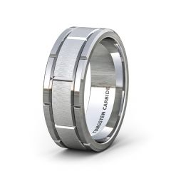 Mens Wedding Band/Fashion Ring 8mm Classic Tungsten Ring Brushed Sections Comfort Fit
