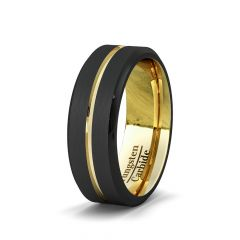 Mens Wedding Band/Fashion Ring Black 8mm Gold Tungsten Ring Groove Beveled Edge Comfort Fit
