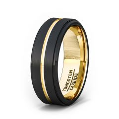 Mens Wedding Band/Fashion Ring 8mm Black Brushed Tungsten Ring Thin Gold Groove Step Edge Comfort Fit