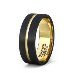 Mens Wedding Band/Fashion Ring Black Tungsten Ring 8mm Gold Inside and Groove Flat Edge Comfort Fit