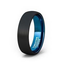 Mens Wedding Band/Fashion Ring 6mm Black Brushed Inside Deep Blue Dome Comfort Fit