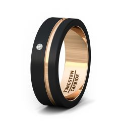 Mens Wedding Band/Fashion Ring 8mm Black Brushed Tungsten Ring Thin Side Rose Gold Groove Cubic Zircon Flat Edge Comfort Fit