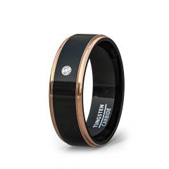 Mens Wedding Band/Fashion Ring 8mm Black Tungsten Rings Rose Gold Beveled Edges with Cubic Zircon Comfort Fit