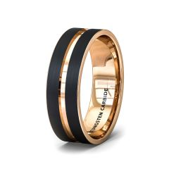 Mens Wedding Band Fashion Ring Brushed Black Tungsten Ring 8mm Rose Gold Groove Flat Edge Comfort Fit