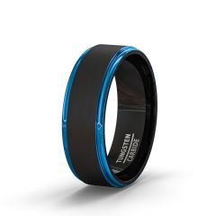 Mens Wedding Band/Fashion Ring Two Tone Brushed Black Tungsten Ring 8mm Blue Step Edge Comfort Fit
