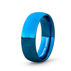 Mens Wedding Band/Fashion Ring Tungsten Ring 8mm Blue Polished Dome Comfort Fit