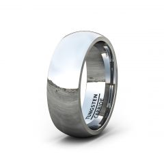 Mens Wedding Band/Fashion Ring 8mm Classic Polished Tungsten Ring Dome Comfort Fit