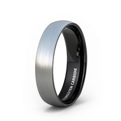 Mens Wedding Band/Fashion Ring Tungsten Ring 6mm Outside Brushed Dome Inside Black Comfort Fit