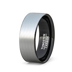 Two Tone 8mm Tungsten Ring Brushed Surface Black Flat Edge Comfort Fit