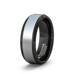 Two Tone 8mm Tungsten Ring Brushed Surface Black Step Edge Comfort Fit