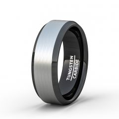 Two Tone 8mm Tungsten Ring Brushed Surface Black Beveled Edge Comfort Fit