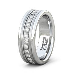 Mens Wedding Band/Fashion Ring 8mm Classic Tungsten Carbide Ring Stacked Cubic Zircon Polished Flat Edge Comfort Fit