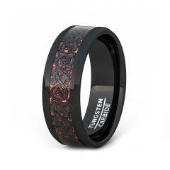 Mens Wedding Band/Fashion Ring 8mm Black Celtic Dragon Tungsten Ring Red Carbon Fiber Beveled Edge Comfort Fit
