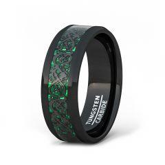 Mens Wedding Band/Fashion Ring 8mm Black Celtic Dragon Tungsten Ring Green Carbon Fiber Beveled Edge Comfort Fit